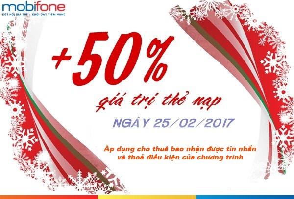 Mobifone khuyến mãi cục bộ tặng 50% thẻ nạp ngày 25/2/2017