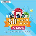 Mobifone khuyến mãi ngày 7/4 tặng 50% giá trị thẻ nạp