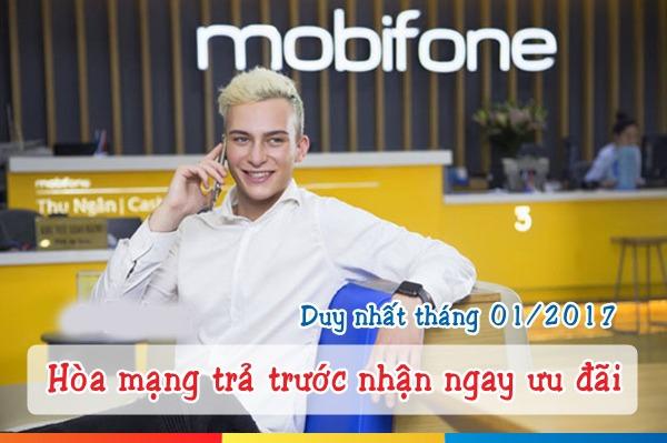 Hoà mạng trả trước Mobifone khuyến mãi 50% trong tháng 1/2017