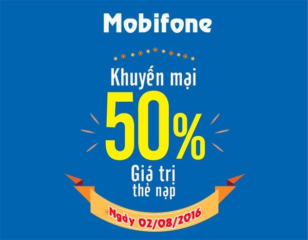 Mobifone khuyến mãi 50% giá trị thẻ nạp