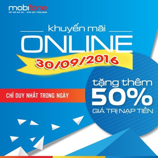 Tặng 50% thẻ nạp trực tuyến Mobifone