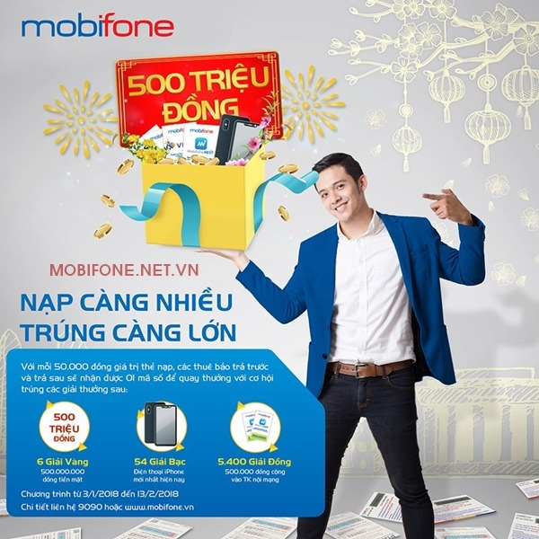 Mobifone khuyến mãi nạp càng nhiều trúng càng lớn cho toàn bộ thuê bao Mobifone